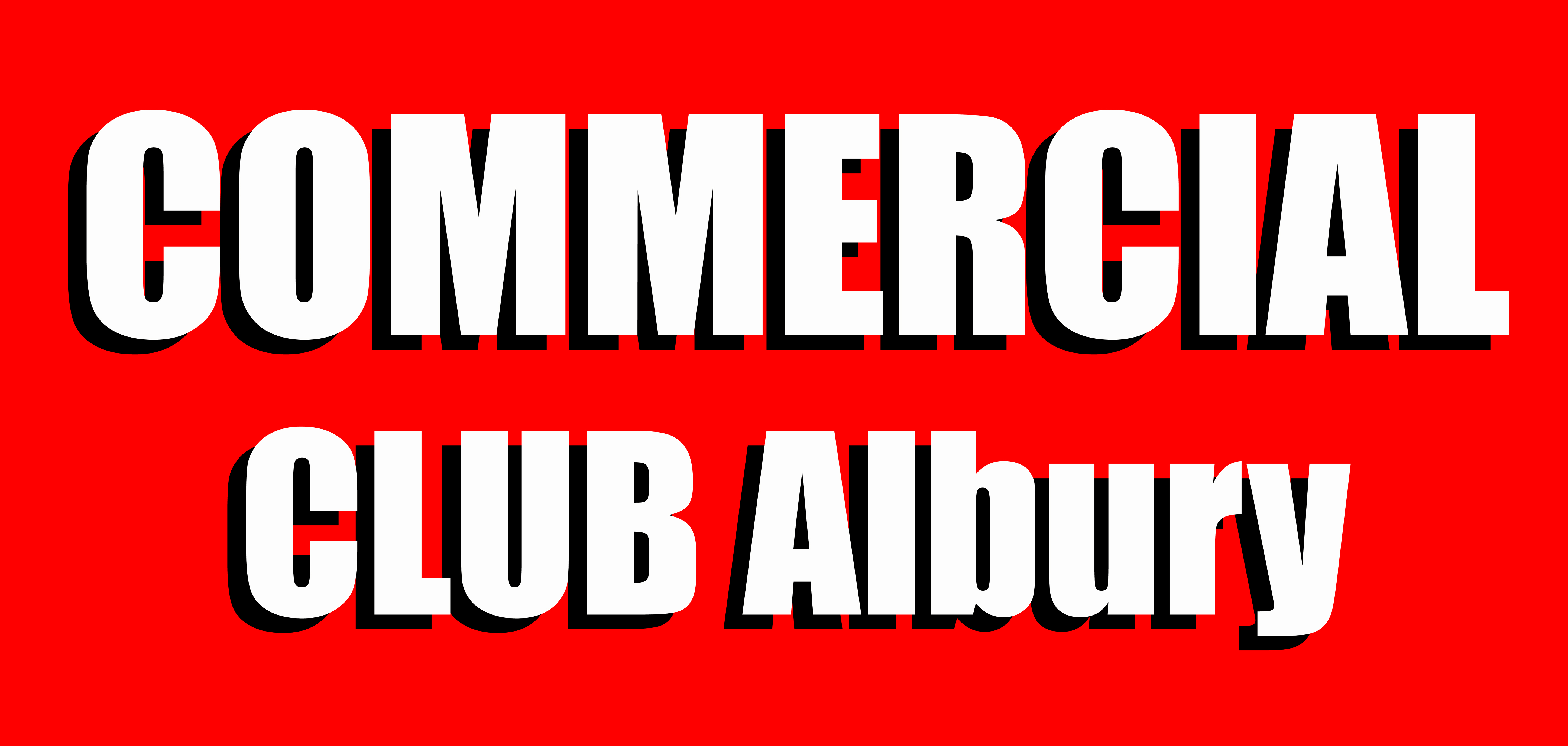 COMMERCIAL CLUB red backgroud logo